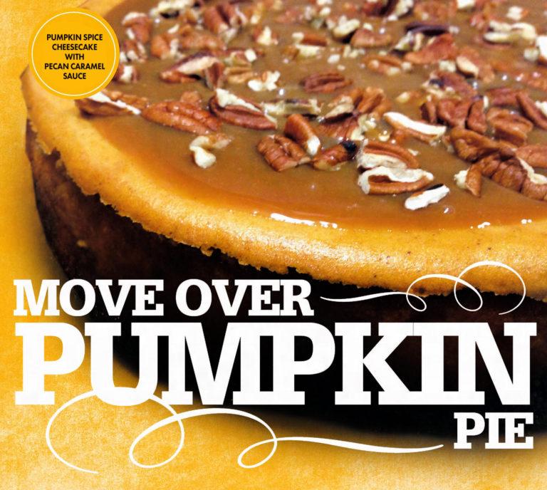 Pumpkin Spice Cheesecake with Pecan Caramel Sauce