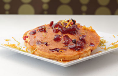 Orange-cranberry sweet potato pancakes