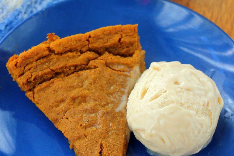 Vegan pumpkin pie and coconut ice cream