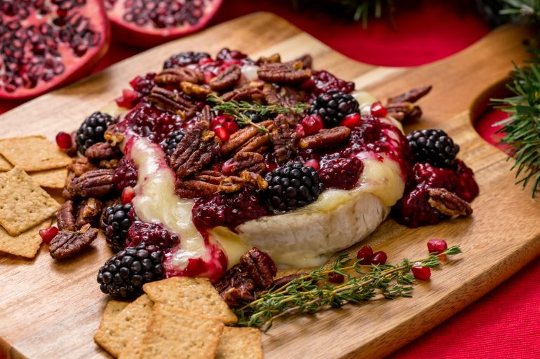 Baked Brie with blackberry compote and pecans