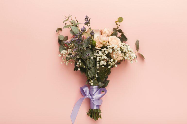 Stylish wedding bouquet, top view