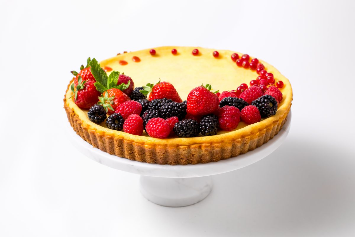 5D4B0461 - Holiday Cheese Tart with Strawberry Glaze - Decorate and serve chilled