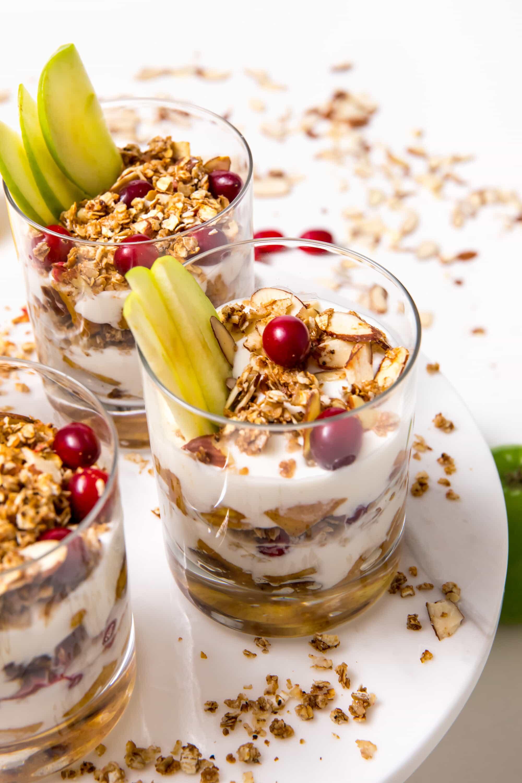 5D4B8730 - Apple Pie Yogurt Parfait with Cranberries