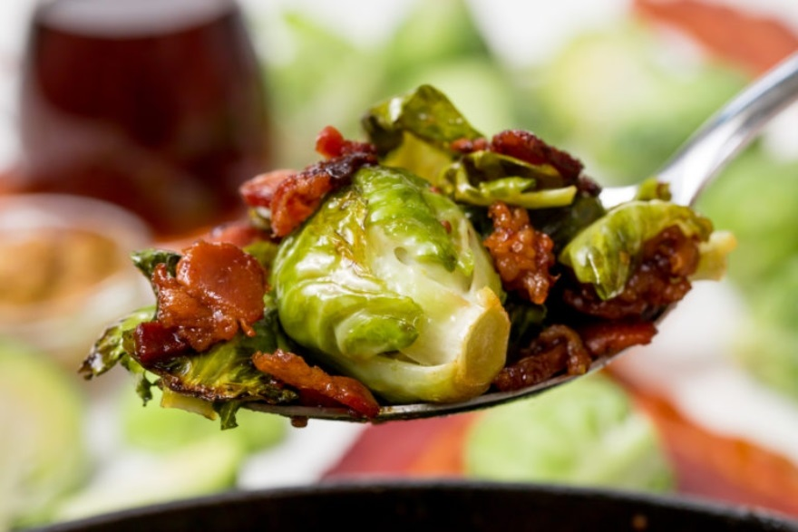Keto-approved Friendsgiving menu maple bacon roasted Brussels sprouts