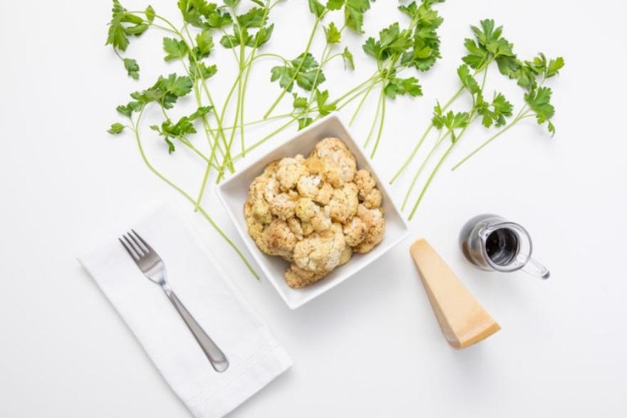 Keto-approved Friendsgiving menu balsamic and parmesan roasted cauliflower