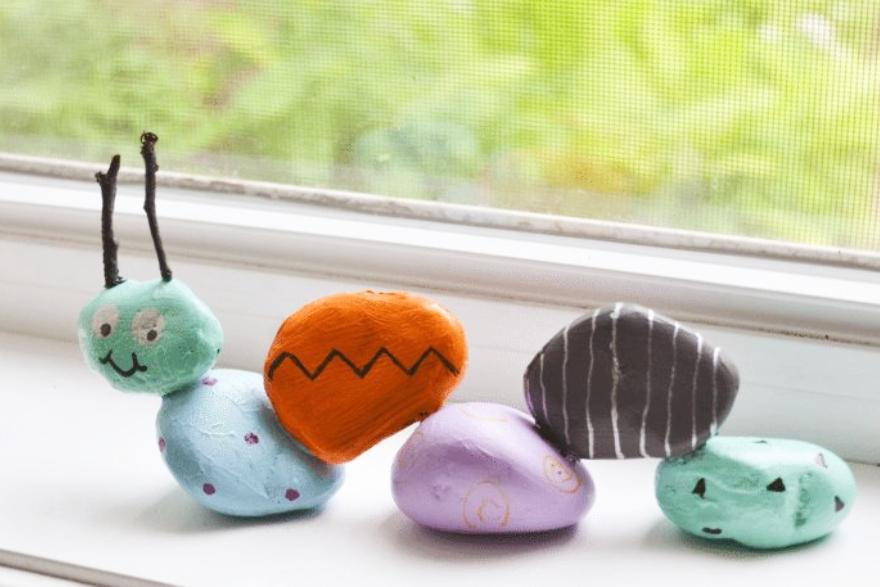 Family-friend craft projects rock garden caterpillar