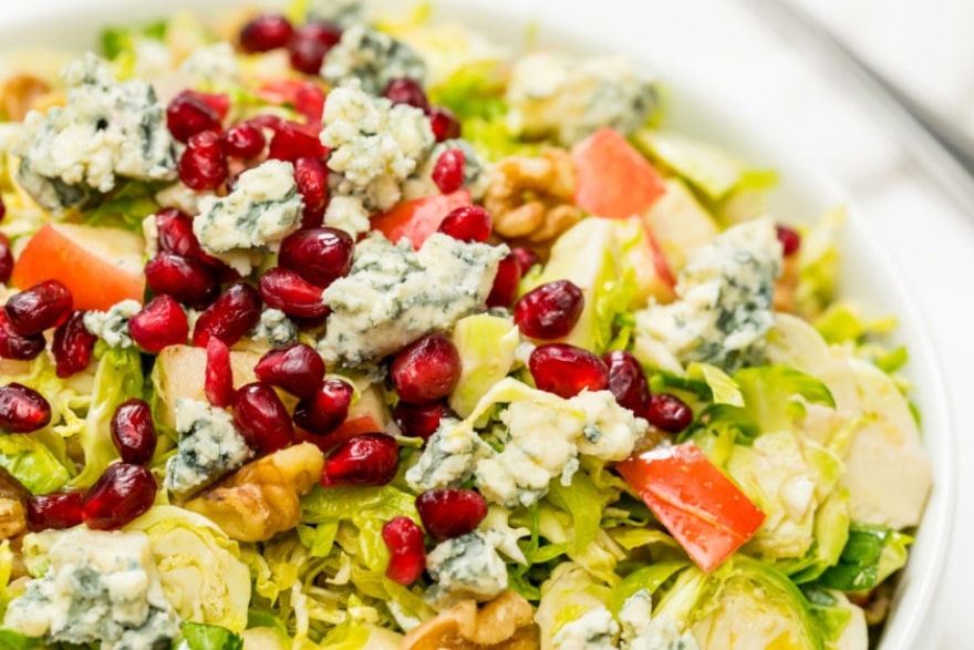 Microwave Friendsgiving Brussels sprouts salad