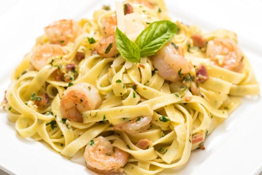 Dinner and a movie Beetlejuice shrimp carbonara