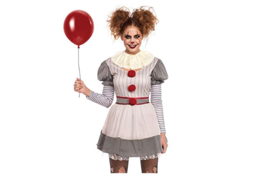 Scary women's Halloween costume ideas 2018 creepy clown from Amazon