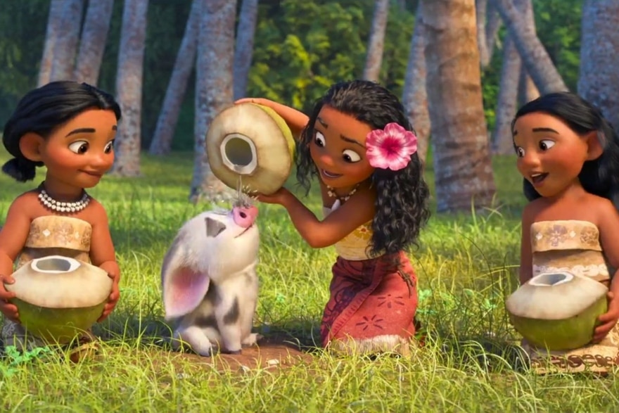 Dinner and a movie Moana coconut water scene