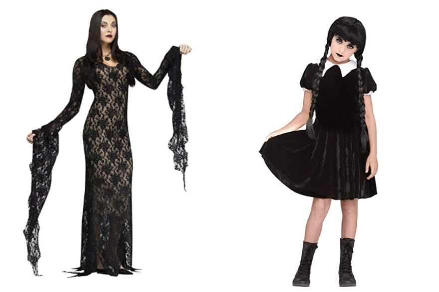 Mother daughter costume ideas Morticia and Wednesday Addams