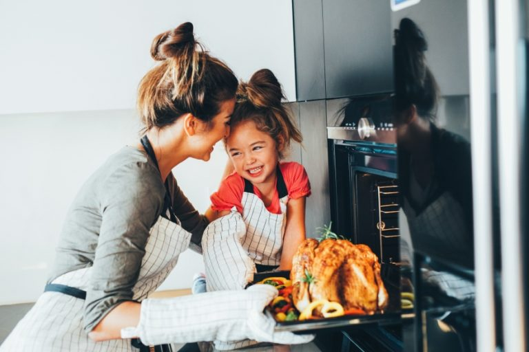 Cooking Thanksgiving dinner with kids grocery shopping