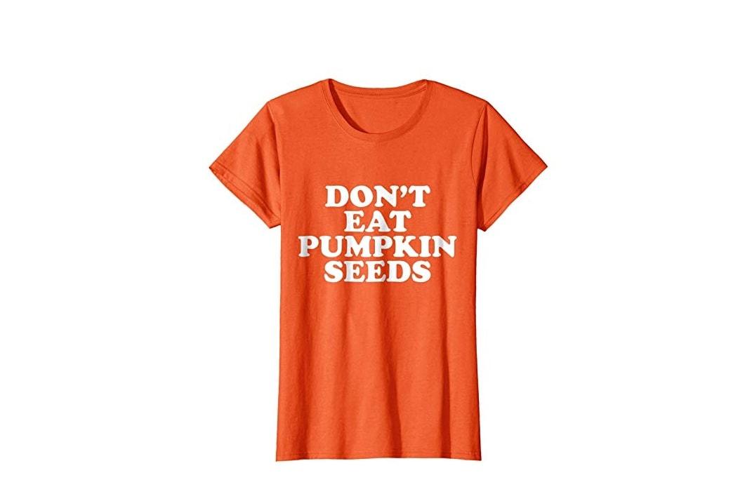 Pregnancy costume ideas pumpkin seeds t-shirt