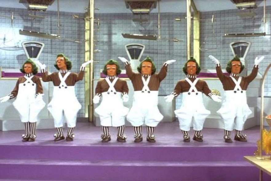 Dinner and a movie Willy Wonka Oompa Loompas