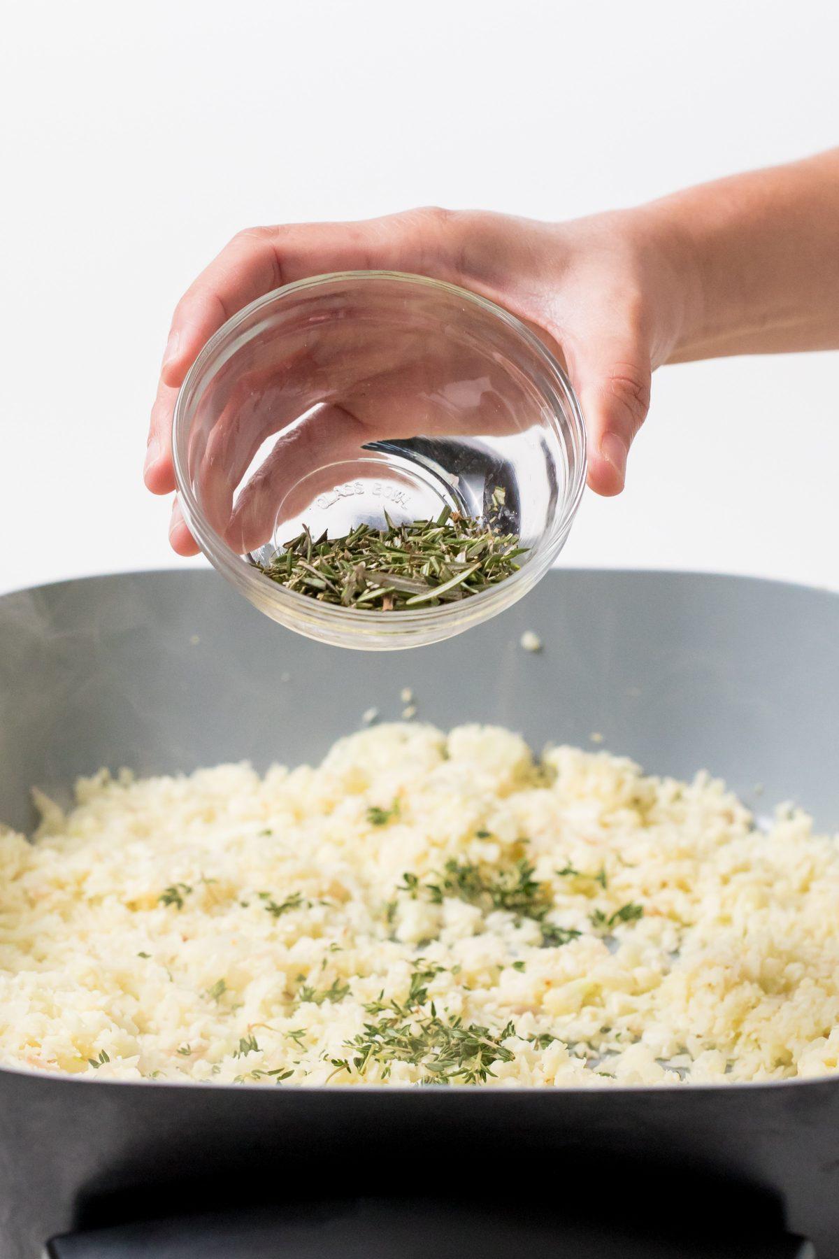 5D4B4143 - Winter Cauliflower Rice Bowls - Cook the riced cauliflower