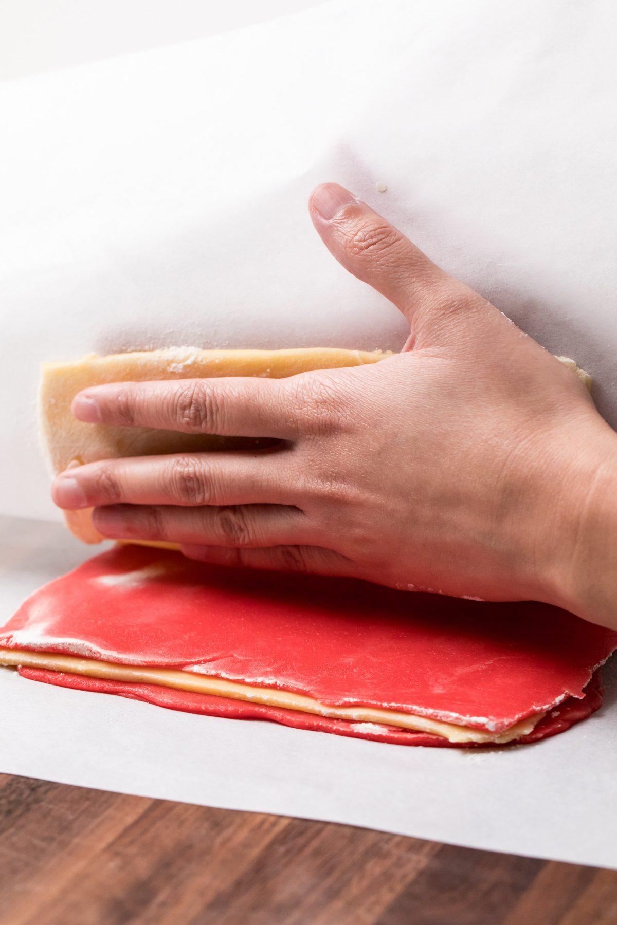 5D4B6574 - Holiday Pinwheel Cookies - Layer the sheets of dough