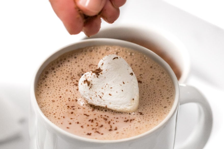 Dinner and a movie 'Love Actually' menu amaretto hot chocolate