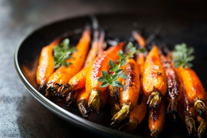 Dinner and a movie 'Love Actually' menu simple glazed carrots