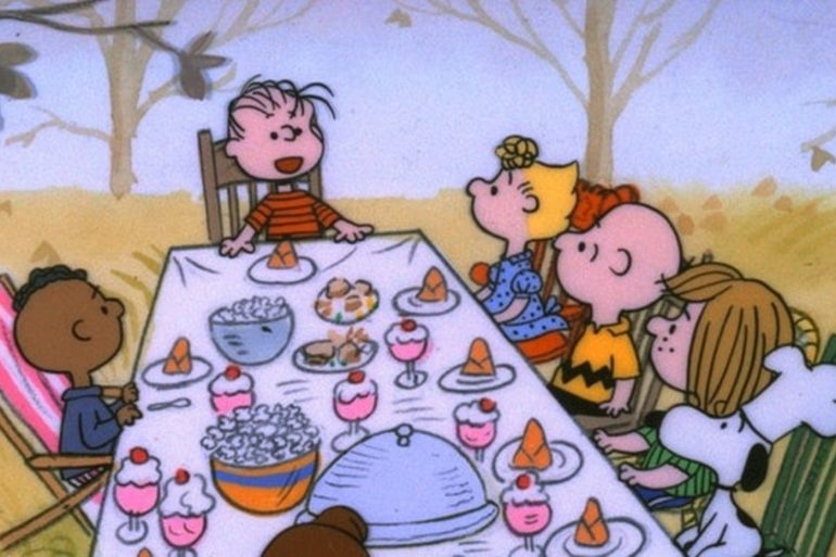 A Charlie Brown Thanksgiving dinner and movie