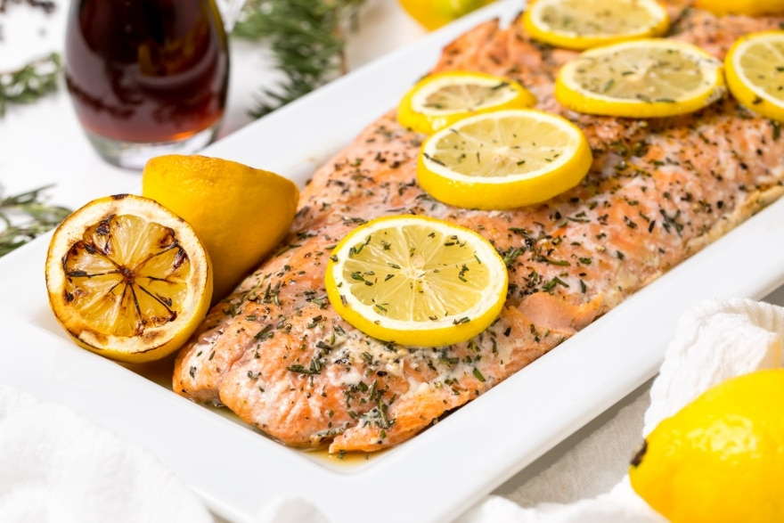 Dinner and a movie Home for the Holidays grilled salmon with maple syrup and rosemary