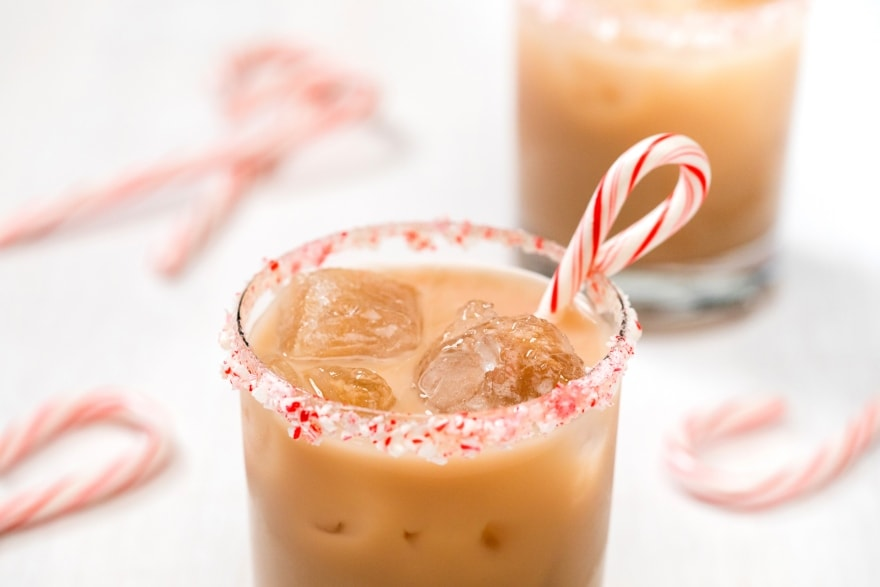 Dinner and a movie Elf peppermint white Russian cocktail