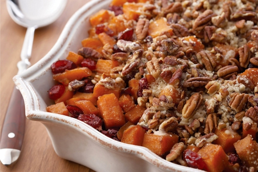 Dinner and a movie Home for the Holidays roasted sweet potatoes with cinnamon pecan crunch
