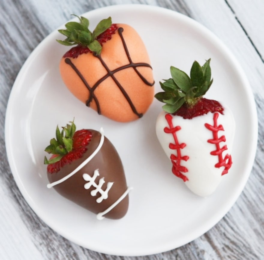 Truly unique football party ideas sports-dipped strawberries