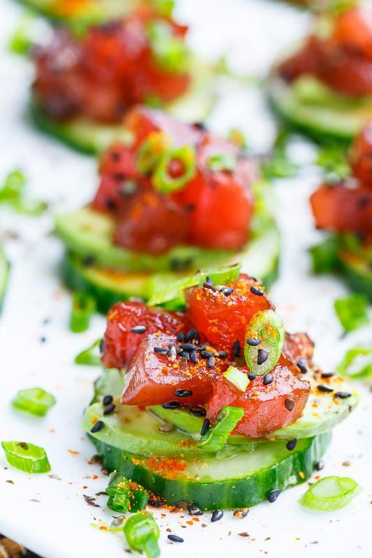 Spicy-Tuna-and-Avocado-Cucumber-Sushi