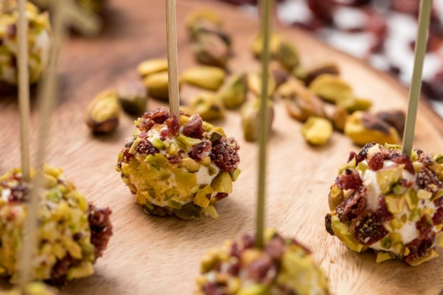 Dinner and a movie 'Christmas with the Kranks' cranberry and pistachio goat cheese bites
