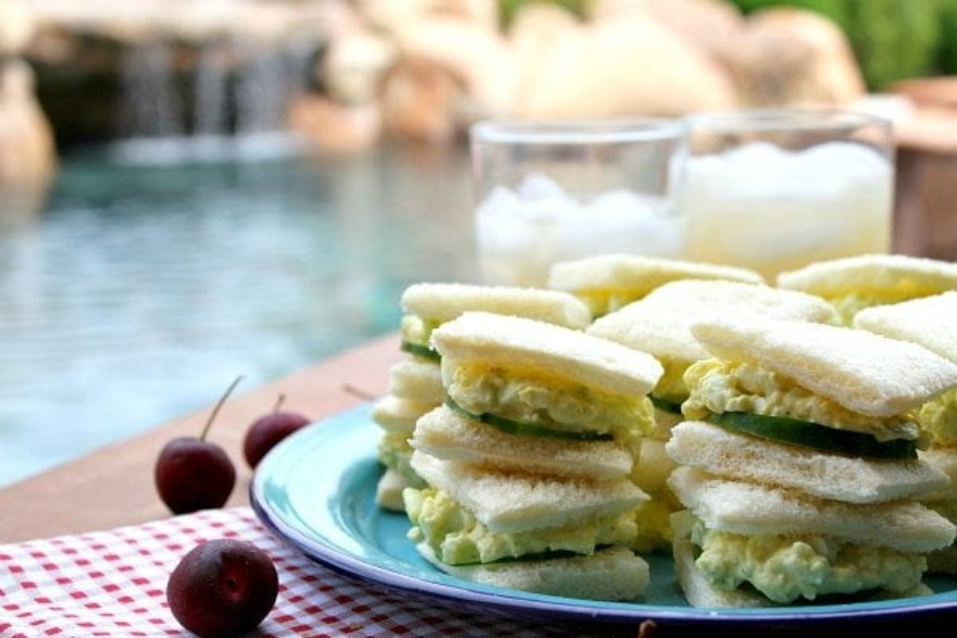Dinner and a movie 'Mary Poppins' avocado egg salad tea sandwiches