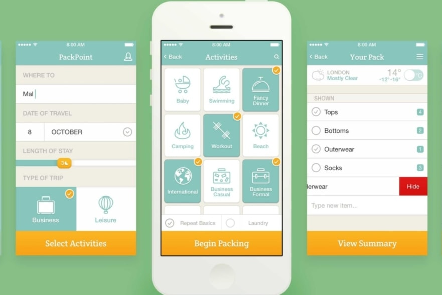 Apps and products PackPoint travel app