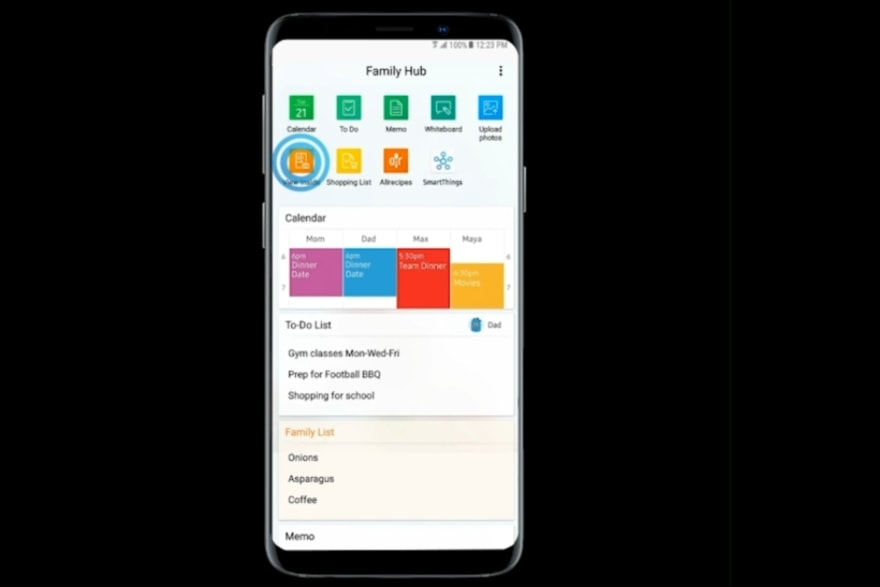 Apps and products Samsung family hub