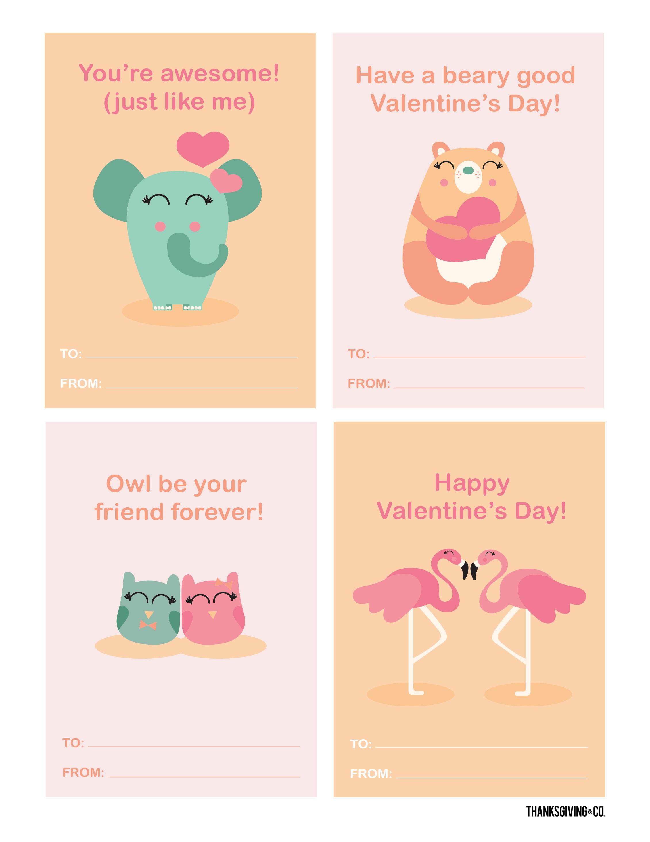VALENTINE Cards Animals