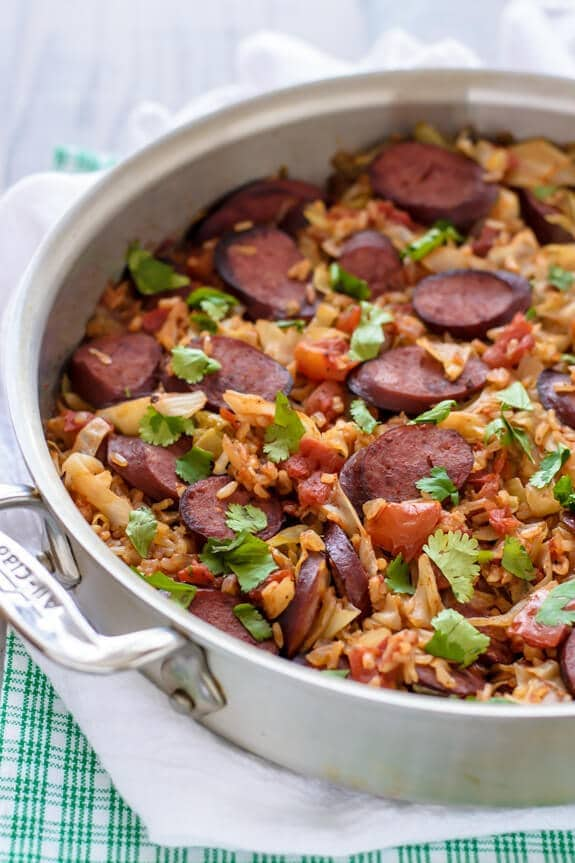 One-Skillet-Cabbage-and-Sausage-with-Rice