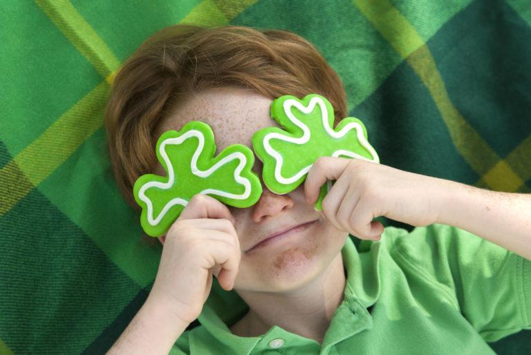 Boy Leprechaun, Smiling Irish Child & St. Patrick's Day Shamrock Cookies