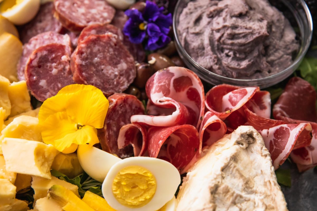 Meat and dips –Easter Charcuterie Board