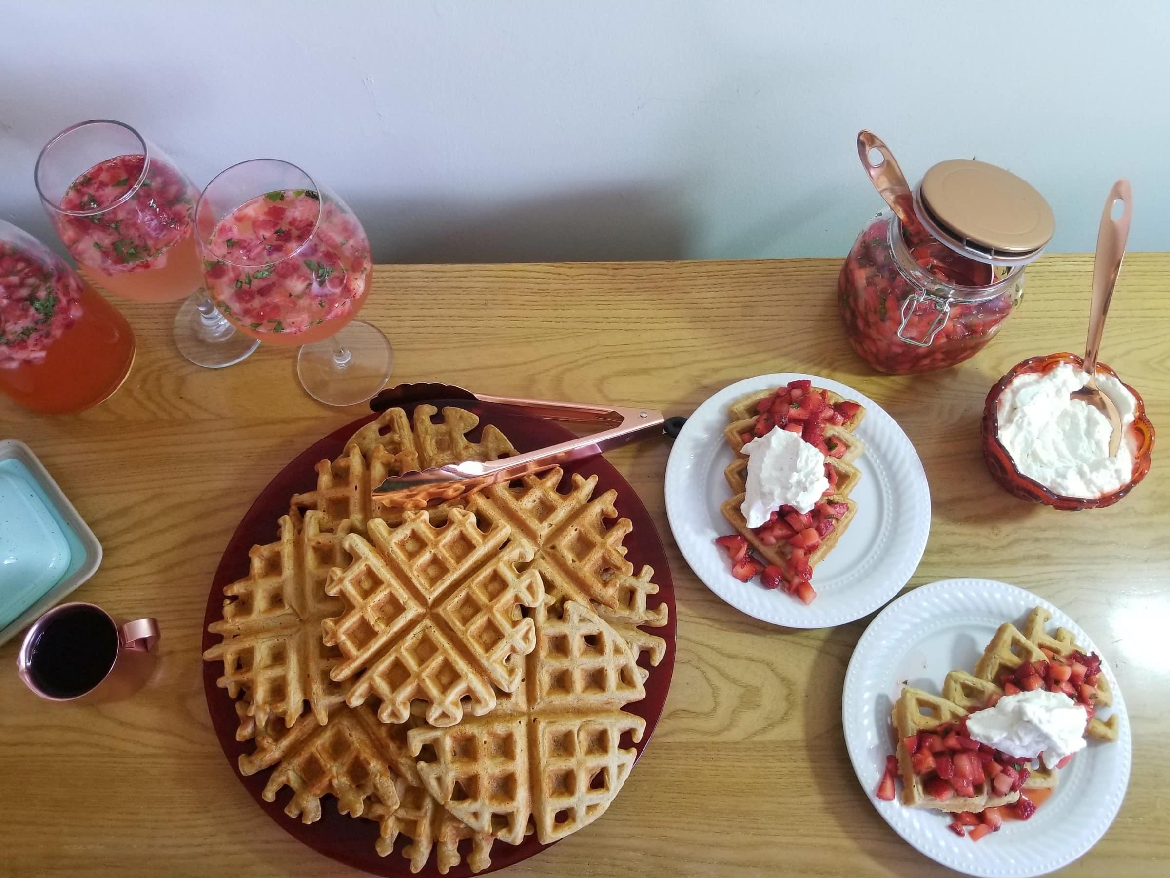 Strawberry basil waffles overhead