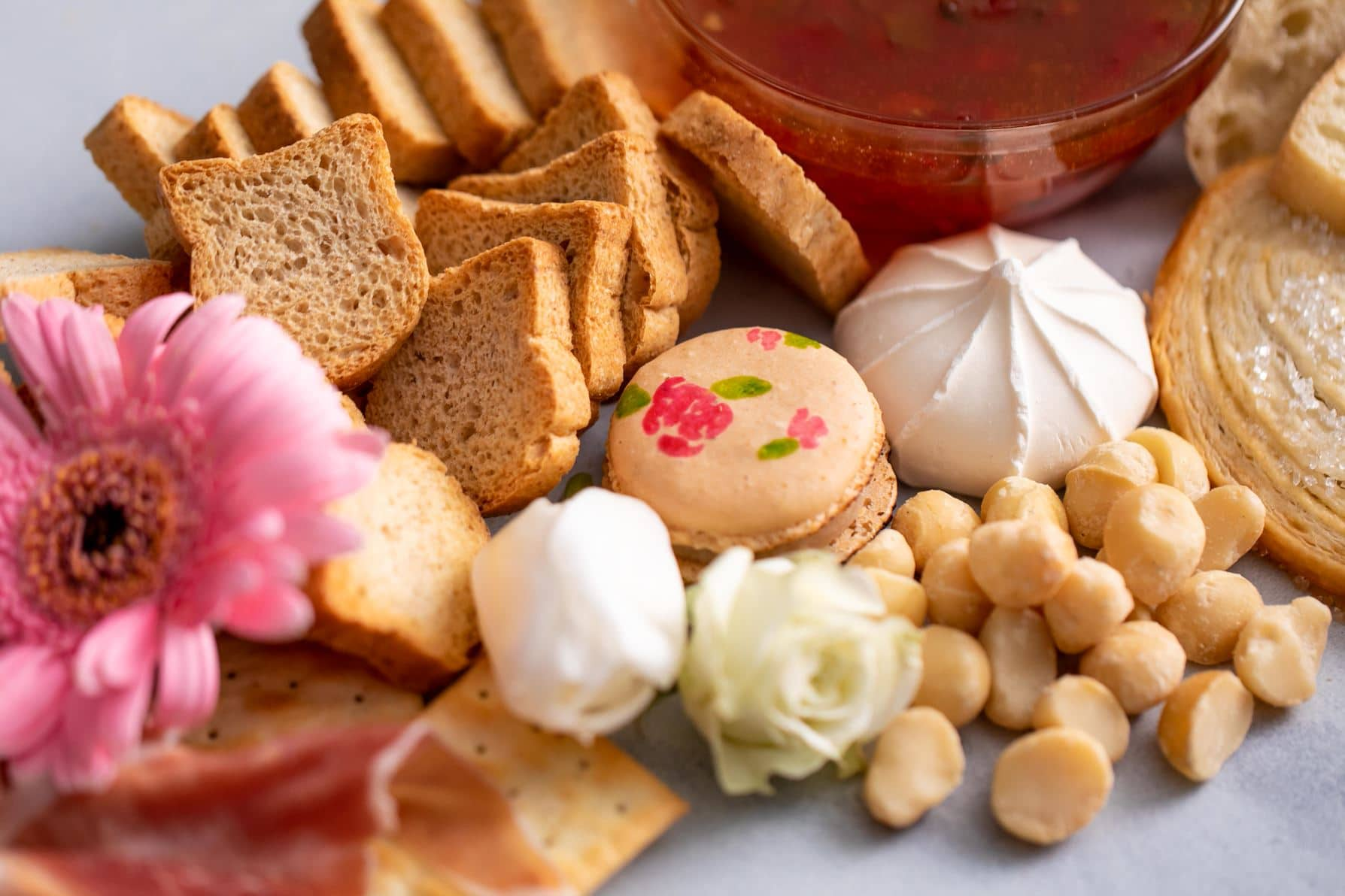 charcuterie board macarons and bread
