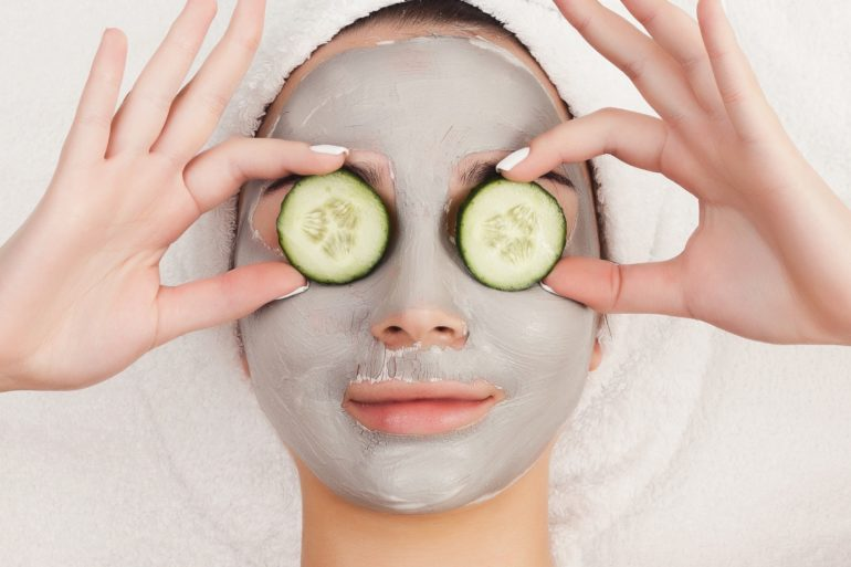 girl with a facemask relaxing
