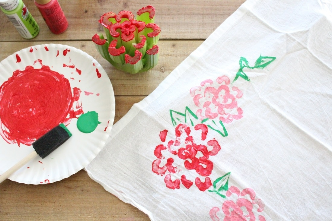kids Mother's Day craft painting stamped tea towel
