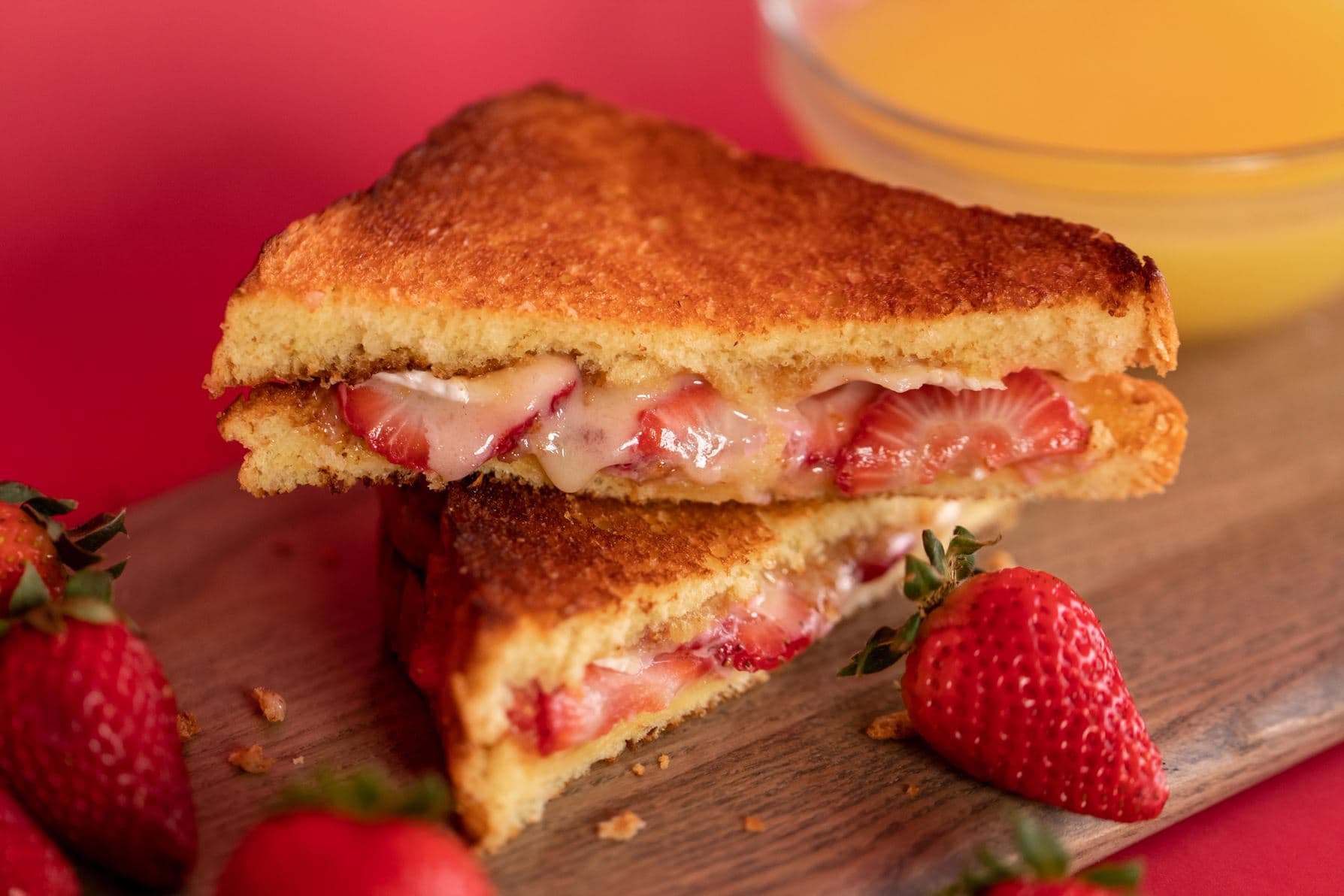 strawberry and champagne grilled cheese