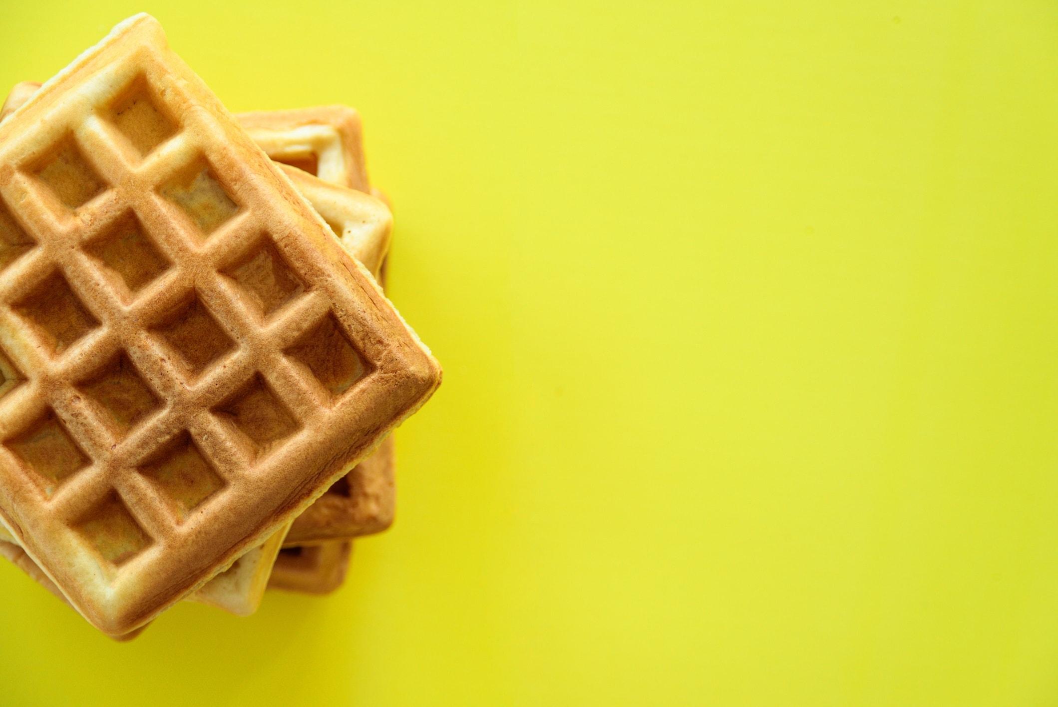 waffles on yellow background