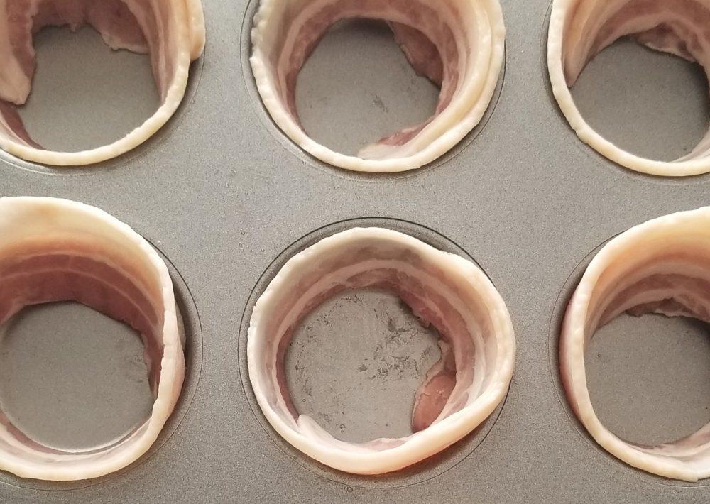 bacon lined cupcake tin