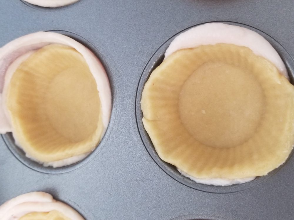 pie crust and bacon cupcake liners