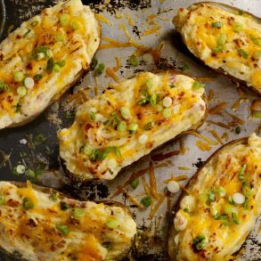 Twice Baked, Stuffed Potatoes with Cheese and Bacon