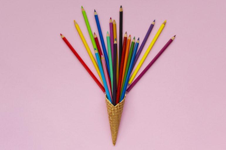 Colored pencils in ice cream cone