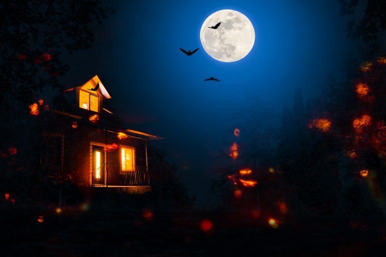 haunted house in the halloween night