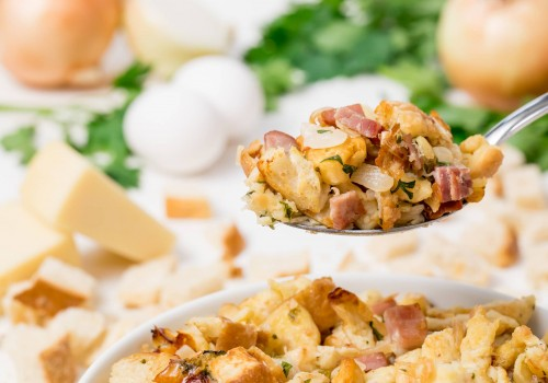 Try a non-traditional side dish this year with this ham, Gruyère and onion stuffing