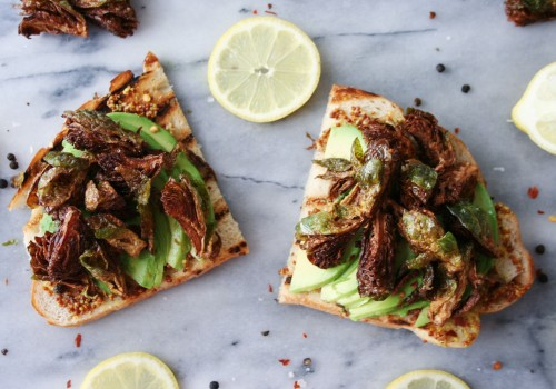 Avocado toast with crispy fried brussels sprouts is brunch goals
