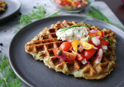Vegan everything potato waffles with chive cream cheese is our recipe of the week